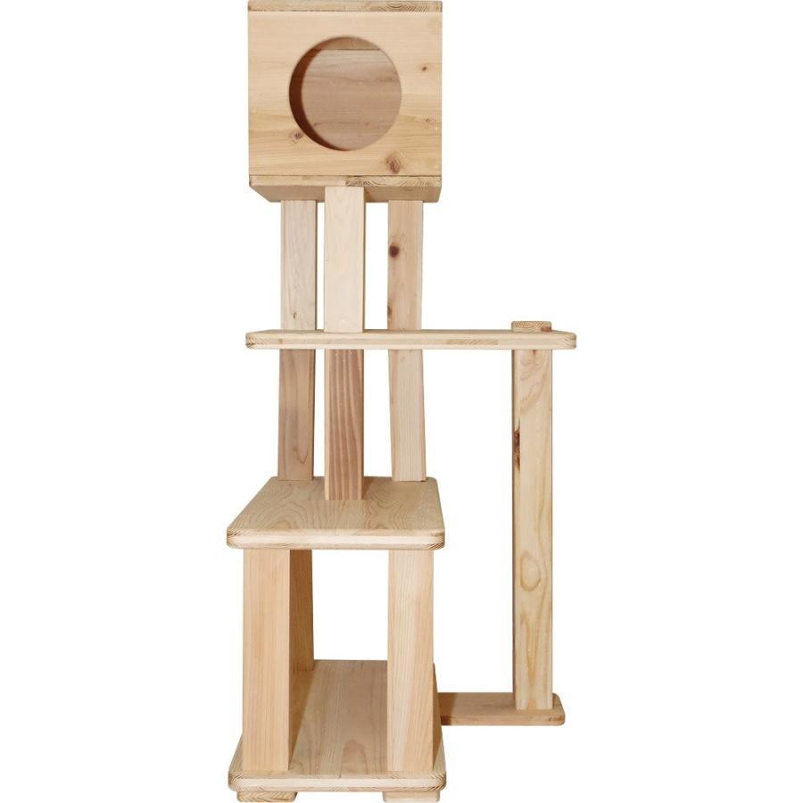 キャットタワー 木製 杉にゃん 据え置き ぷち3段BOX 全高132cm おすすめ シニア 子猫 1年保証 運動不足 おしゃれ 設置 簡単 pet-kagu-kagu 04
