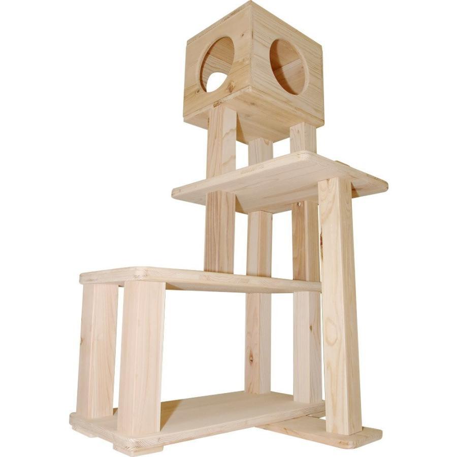 キャットタワー 木製 杉にゃん 据え置き ぷち3段BOX 全高132cm おすすめ シニア 子猫 1年保証 運動不足 おしゃれ 設置 簡単 pet-kagu-kagu 05