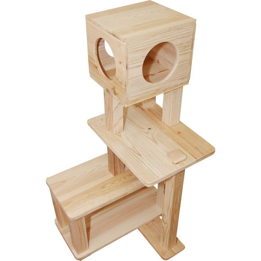 キャットタワー 木製 杉にゃん 据え置き ぷち3段BOX 全高132cm おすすめ シニア 子猫 1年保証 運動不足 おしゃれ 設置 簡単 pet-kagu-kagu 06
