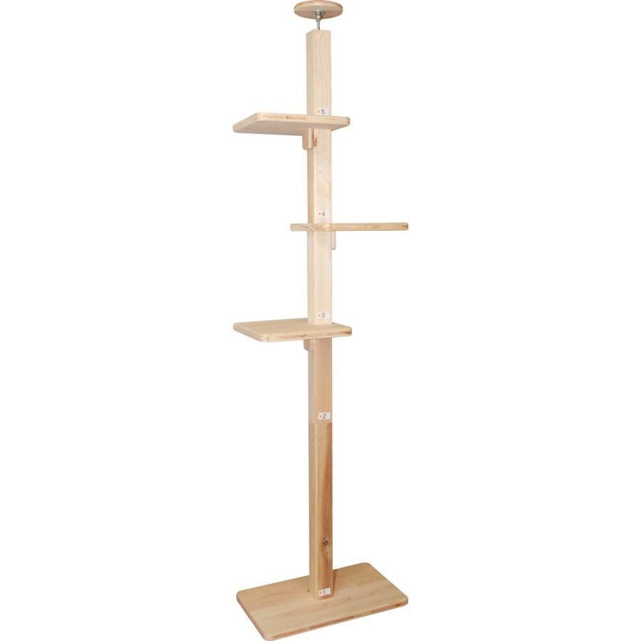キャットタワー 木製 杉にゃん 突っ張り リプレライト 全高220-270cm スリム 省スペース 木登り 爪とぎ 1年保証 おしゃれ 設置 簡単|pet-kagu-kagu|02