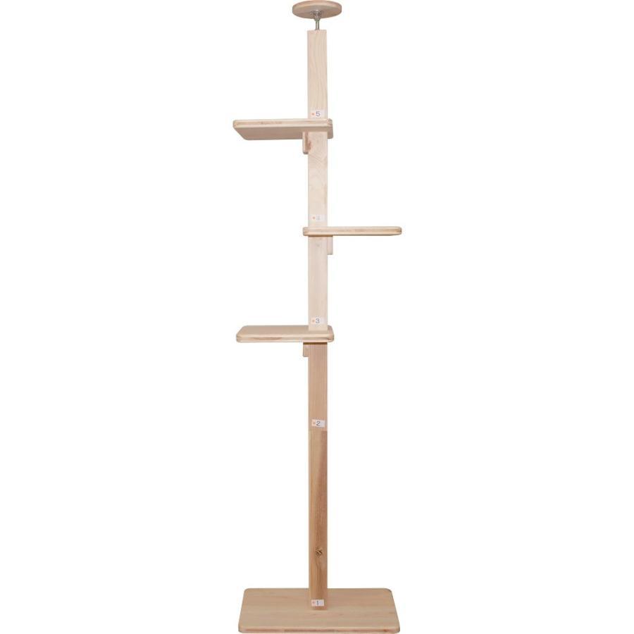 キャットタワー 木製 杉にゃん 突っ張り リプレライト 全高220-270cm スリム 省スペース 木登り 爪とぎ 1年保証 おしゃれ 設置 簡単|pet-kagu-kagu|03
