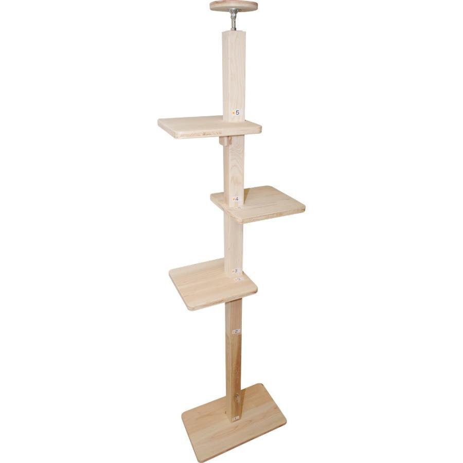 キャットタワー 木製 杉にゃん 突っ張り リプレライト 全高220-270cm スリム 省スペース 木登り 爪とぎ 1年保証 おしゃれ 設置 簡単|pet-kagu-kagu|04