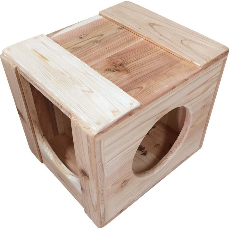 猫ハウス ベッド ペット用品 木製 まったりぼっくす 毛が絡まない 清潔 室内 爪とぎ 自然素材 健康 安心 手作り|pet-kagu-kagu|05