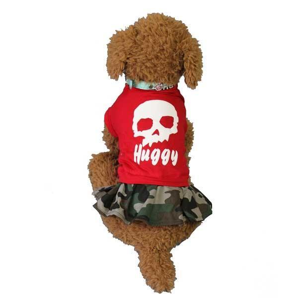 (EC)犬の服 ドクロと迷彩のワンピース(レッド) (S〜XLサイズ) HUGGY BUDDY'S(送料無料/代金引換不可/同梱不可)|pet-square