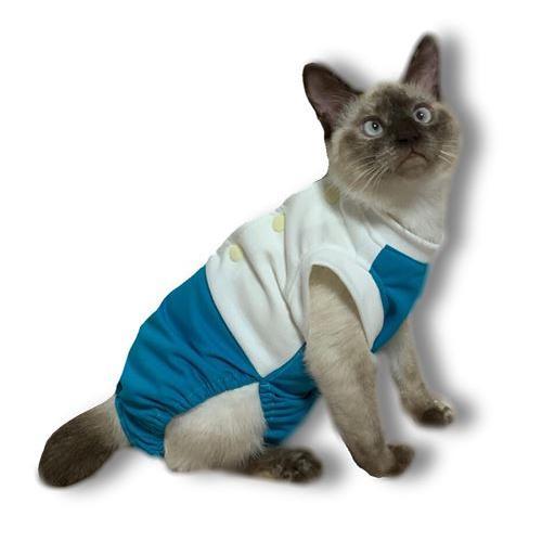 猫術後服 猫保護服  猫用術後ウェア 引っかき 噛みつき対策 M|petanimals|02
