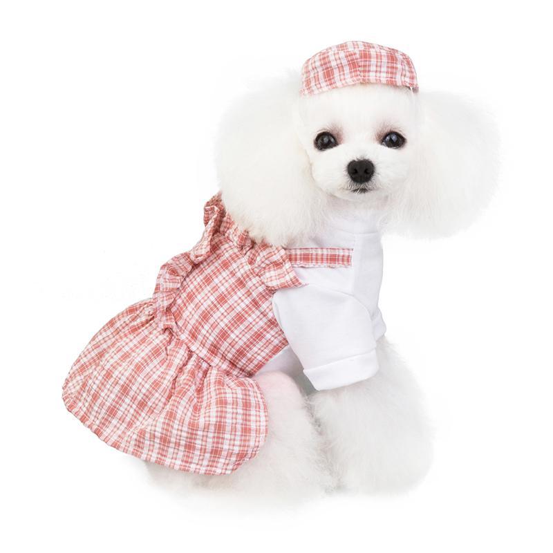 春夏新作 犬服 PETFiND 女の子 ワンピース スカート ペットドレス ギンガム シャツ XS S M L XL かわいい 愛犬 おしゃれ犬服 ピンクタイプ ベージュタイプ|petfind|04