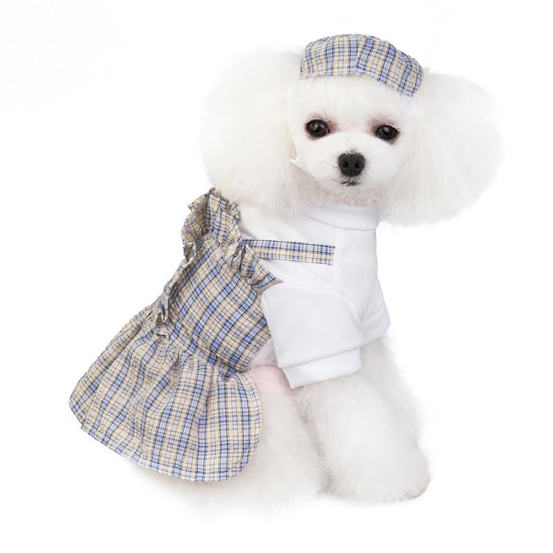 春夏新作 犬服 PETFiND 女の子 ワンピース スカート ペットドレス ギンガム シャツ XS S M L XL かわいい 愛犬 おしゃれ犬服 ピンクタイプ ベージュタイプ|petfind|05