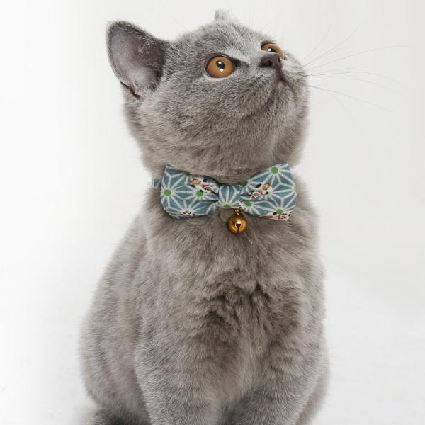 ネコ 首輪 麻の葉 招き猫柄 迷子札付き仕様  セーフティーバックル 鈴 和柄 かわいい petgp 06