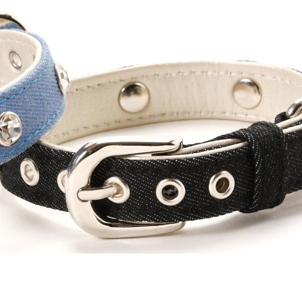 犬用首輪 デニムダイヤ <Sサイズ> ラインストーン 小型犬  中型犬 犬首輪|petgp|03
