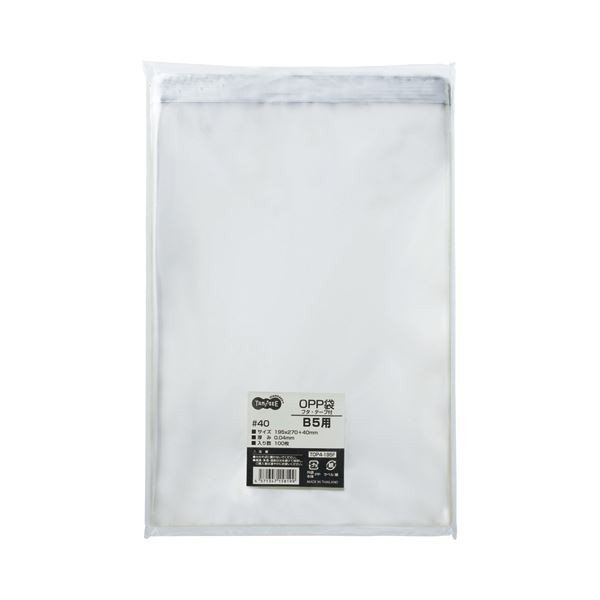 (まとめ) TANOSEE OPP袋 フタ・テープ付 B5用 195×270+40mm 1セット(500枚:100枚×5パック) 〔×2セット〕