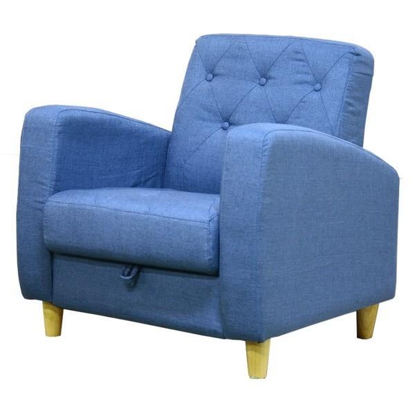 ソファー 〔1人掛け〕 ファブリック地 座面下収納 肘付き 北欧風 ブルー(青)〔代引不可〕