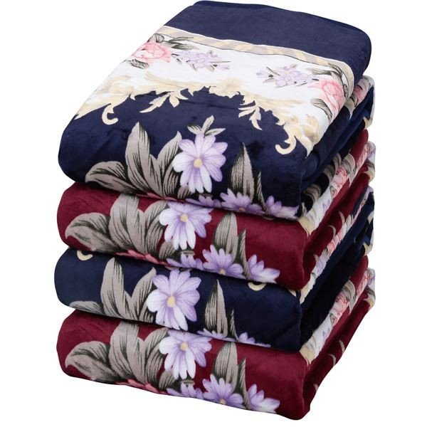 遠赤綿入り 遠赤綿入り ボリュームマイヤー毛布/寝具 〔2色4枚組〕 3層構造〔代引不可〕