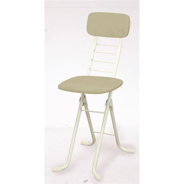 折りたたみ椅子 〔2脚セット ホワイト×ミルキーホワイト〕 幅35cm 日本製 高さ6段調節 スチールパイプ 『リリィチェアM』〔代引不可〕