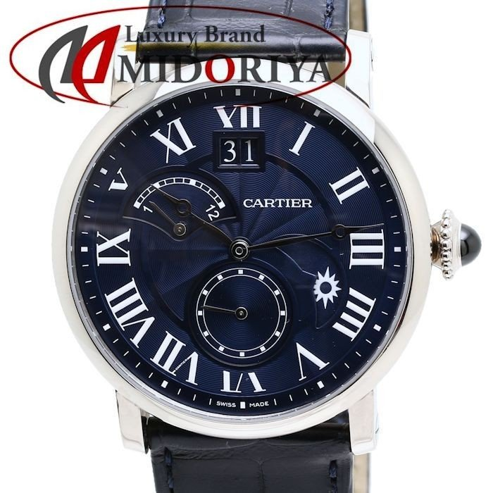 大割引 カルティエ Cartier ロンド ドゥ カルティエ W1556241 WG セカンドタイムゾーン デイ/ナイト 200本限定 メンズ/34770 【】 【クリーニング済】 腕時計, イワテマチ 1b5e2e63