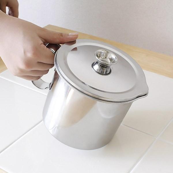 【8%OFFクーポン配布中※先着順】キッチンを汚さないトレー付き 日本製 二重アミ式 ステンレスオイルポット 1.2L phezzan 04