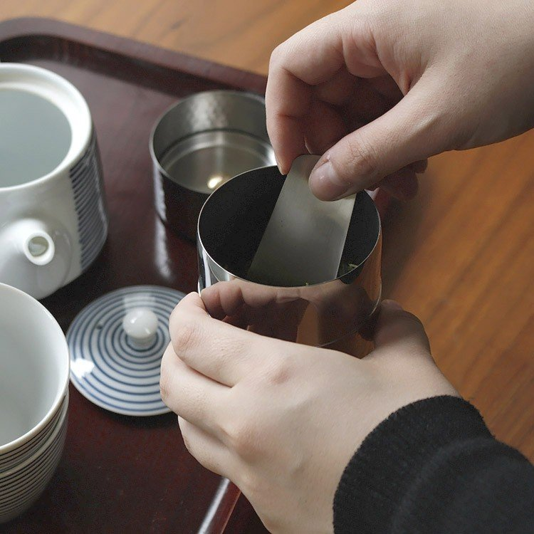茶筒 槌目模様 茶箕付き 純銅製 ステンレス製(ミラー仕上/つや消し仕上)|phezzan|02