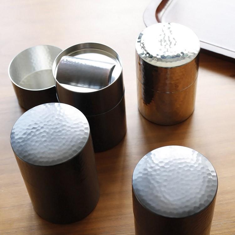 茶筒 槌目模様 茶箕付き 純銅製 ステンレス製(ミラー仕上/つや消し仕上)|phezzan|03