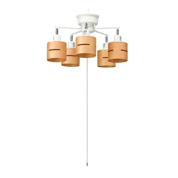 【日時指定可】YAZAWA(ヤザワコーポレーション) 5灯ウッドセードシーリング ナチュラル E26 電球なし CEX60X02NA