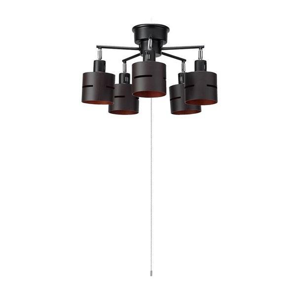 【日時指定可】YAZAWA(ヤザワコーポレーション) 5灯ウッドセードシーリング ダークウッド E26 電球なし CEX60X02DW