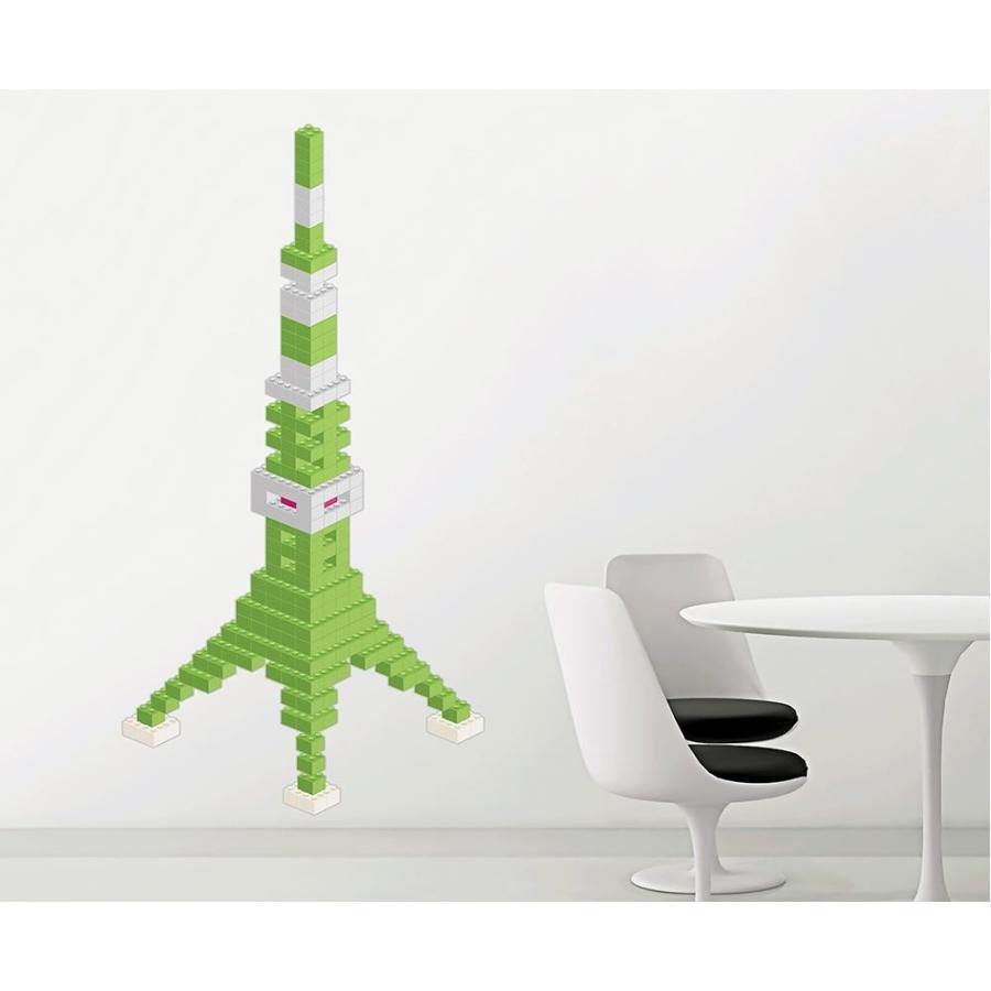 【日時指定可】東京ステッカー ウォールステッカー 転写式 ブロック・タワー ライムグリーン Mサイズ TS-0020-CM