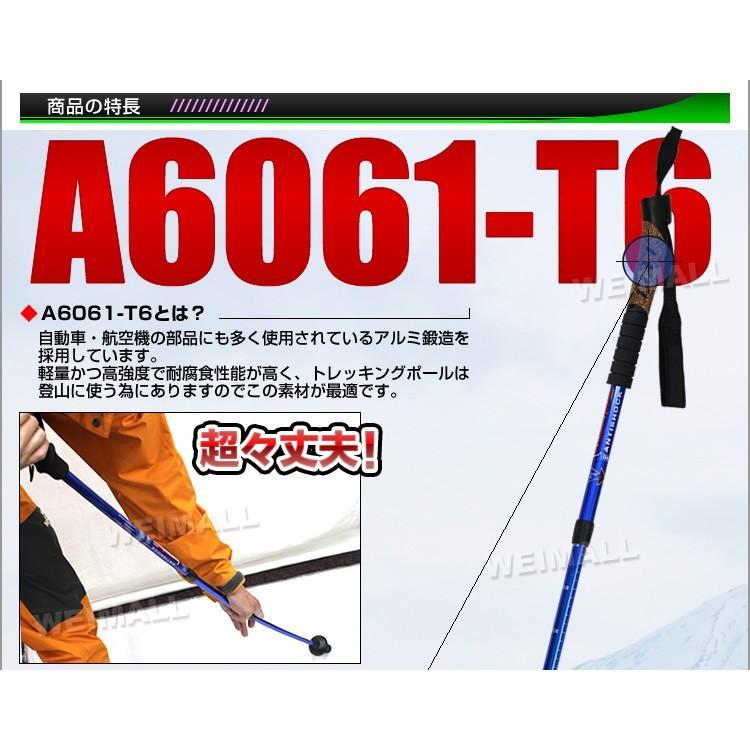 トレッキングポール 2本セット I型 女性用・子供用 ステッキ ストック 軽量アルミ製 登山用杖|pickupplazashop|04