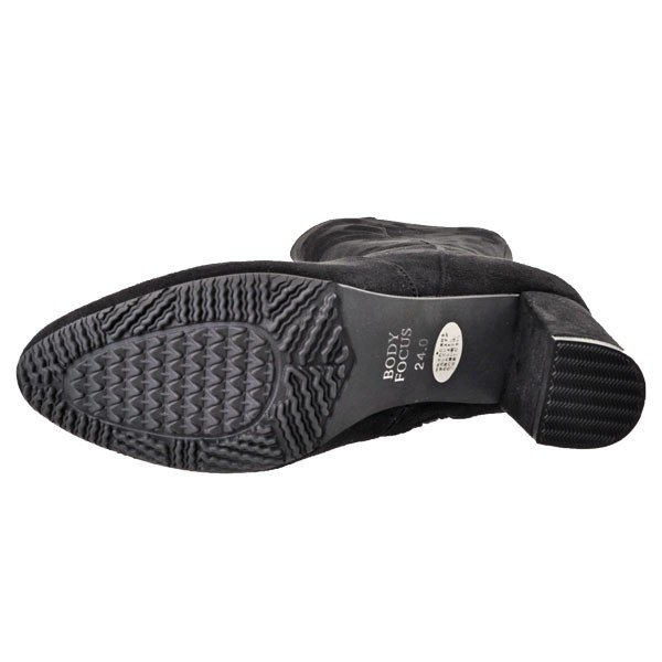 レディース 靴 ブーツ マドラス ボディーフォーカス サイドファスナー チャンキーヒール ロングブーツ ブラックスエード BD1047BLA-S pieds 04