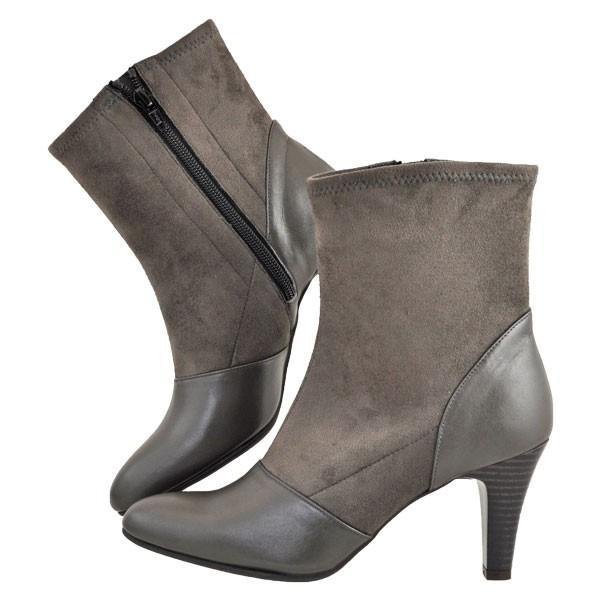 レディース 靴 ブーツ マドラス モデロ 日本製 ストレッチ入り サイドファスナー 7.5cmヒール ショートブーツ 送料無料 ダークオーク DLL814DOK|pieds|03