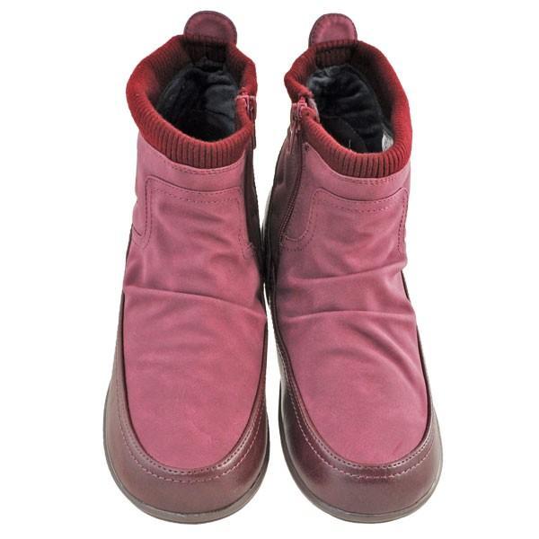 レディース 靴 ブーツ エルスポーツ ドレープ加工 サイドファスナー ペタンコブーツ ワインスエード ESP111006WIN-S|pieds|02