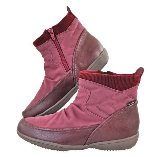レディース 靴 ブーツ エルスポーツ ドレープ加工 サイドファスナー ペタンコブーツ ワインスエード ESP111006WIN-S|pieds|03