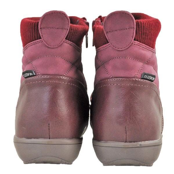レディース 靴 ブーツ エルスポーツ ドレープ加工 サイドファスナー ペタンコブーツ ワインスエード ESP111006WIN-S|pieds|04