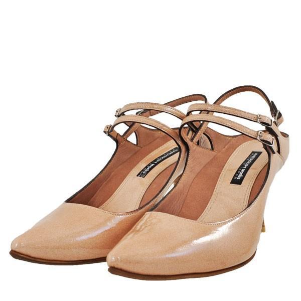 レディース 靴 パンプス ラボキゴシ ワークス ポインテッドトゥ バックストラップパンプス 送料無料 パールベージュエナメル works9133-12321PBGE pieds