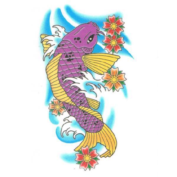 タトゥーシール 2枚セット 昇り鯉 紫 ボディーシール|piercing-nana|02