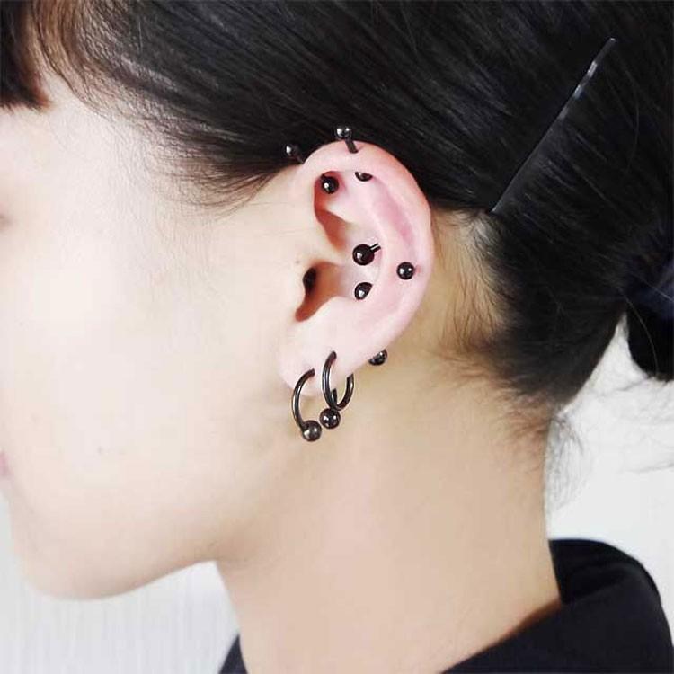 ボディピアス カラーチタンストレートバーベル 16G ボディーピアス 軟骨ピアス|piercing-nana|16