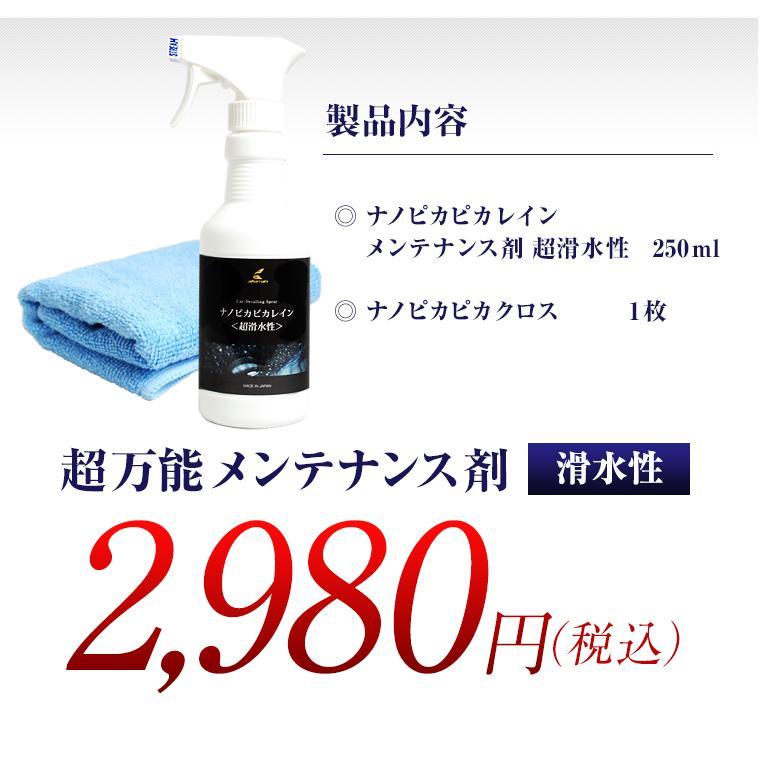 ガラスコーティング 車 ガラスコーティング剤 メンテナンス剤 ナノピカピカレイン 滑水性 スプレーして拭くだけ簡単コーティング! 送料無料 TOP-KMAINTE-250|pika2rain|10