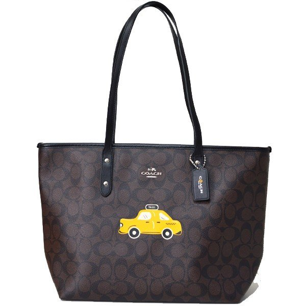 超歓迎された コーチ バッグ COACH NYC タクシー タクシー シグネチャー COACH ニューヨーク ジップ トート トート バッグ ブラウン×ブラック 57615, axia mall:00fe1b24 --- secure32btc.xyz