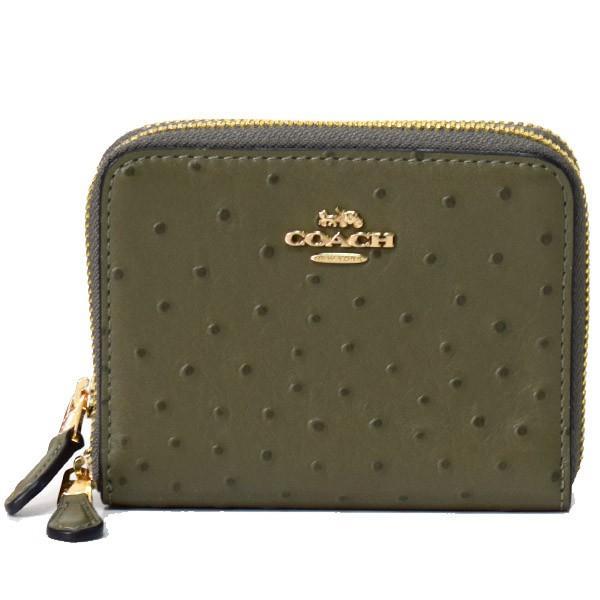新規購入 コーチ 財布 COACH オーストリッチエンボスレザー COACH スモール ダブルジップ 財布 アラウンド 二つ折り コーチ 財布 ミリタリーグリーン 77875, バイクCITY:d7408b77 --- fresh-beauty.com.au