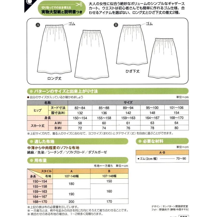 パターン ( 型紙 )  ゴム ギャザースカート ( 簡単 実寸大 作り方 レシピ レディース パンツ スカート ) pirol 02