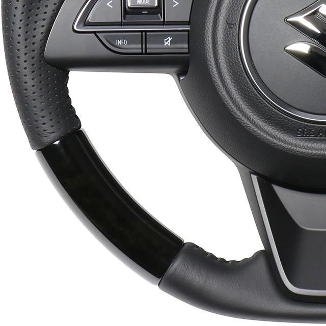 新型ジムニー用 REAL「ブラックウッドステアリング」ジムニーJB64W/ジムニーシエラJB74W 純正エアバッグ/ステアリングリモコン対応|piston|05