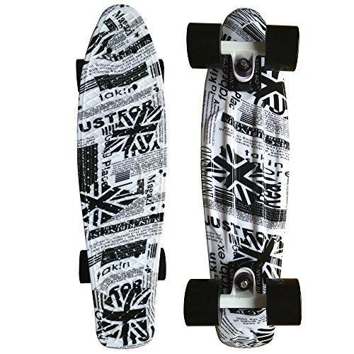 ロングスケートボードCHI YUAN 22 Inch Graphic Printed Plastic Skateboard Urban Cruiser Board Complete