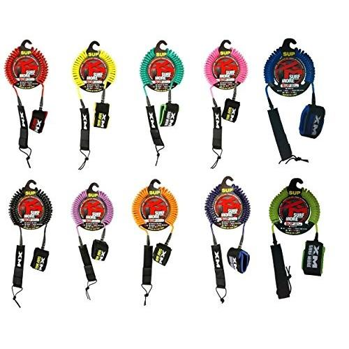 サーフィンSurf More XM SUP Coiled Leash - Choice of Color and Size (赤, 10')