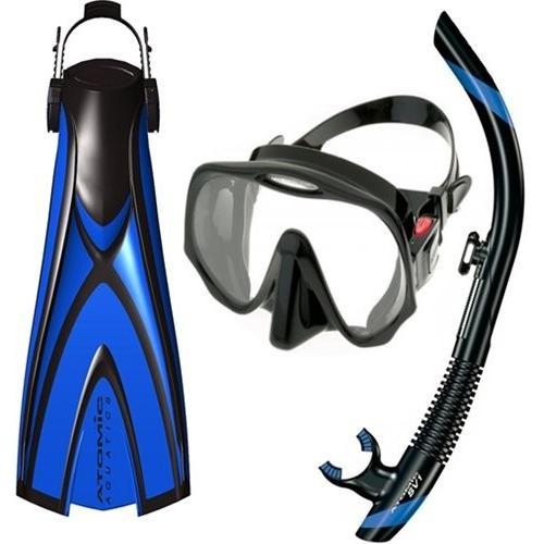 シュノーケリングAtomic Pro Package - X1 Open Heel Blade Fin, SV1 Snorkel and Frameless Mask (Small, Yellow)