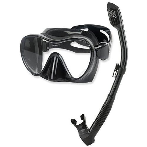 シュノーケリングPhantom Aquatics Scuba Snorkeling Freediving Mask Snorkel Set, All Black
