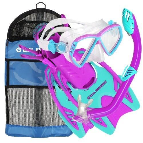 シュノーケリングU.S. Divers Junior Regal Mask, Trigger Fins and Laguna Snorkel Combo Set, Fun 紫の, Large/X-Large