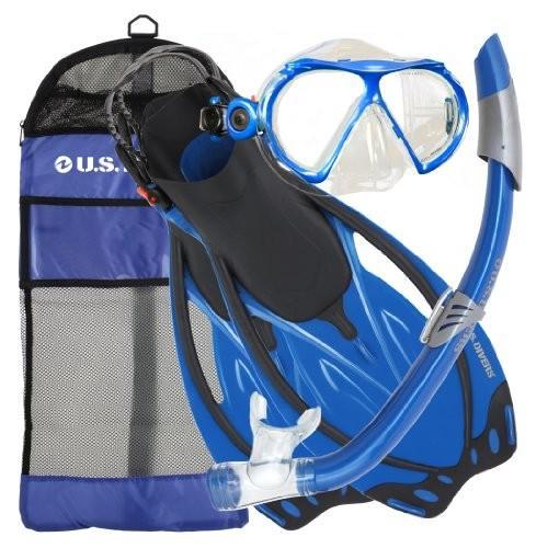 シュノーケリングU.S. Divers Men's Yucatan Mask, Starboard Fins and Nusa Snorkel Combo Set, Electric Blue, Small/Medium