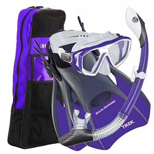 シュノーケリングU.S. Divers Diva 1 LX/Island Dry LX/Trek/Travel Bag Combo, Purple, Small (5-8)