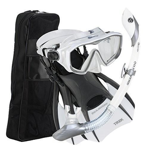 シュノーケリングU.S. Divers Diva 1 Lx/Island Dry Lx/Trek/Travel Bag White Medium; Now with New and Improved Snorkel Clip