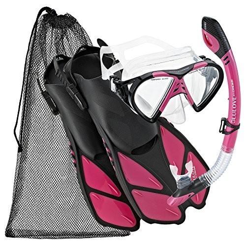 シュノーケリングCressi BNTMFSS PK-SM Adjustable Mask Fin Snorkel Set with Carry Bag, Size 4.5 to 8.5, Raspberry