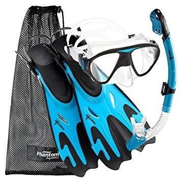 シュノーケリングPhantom Aquatics Navigator Mask Fin Snorkel Set, Aqua, M/L, 9-12