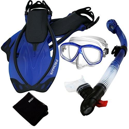 シュノーケリング285890-t.Blue-MLXL, Snorkeling Purge Mask Dry Snorkel Fins Mesh Bag Set