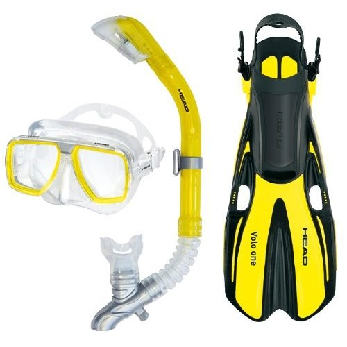 シュノーケリングHEAD Mares Tarpon Mask/Snorkel/Fin Set, Yellow, Large
